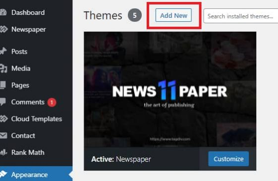 Scroll to the top and click Add New on the Themes Page