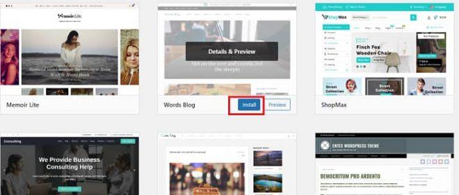 Installing a WordPress Theme Through the Theme Directory
