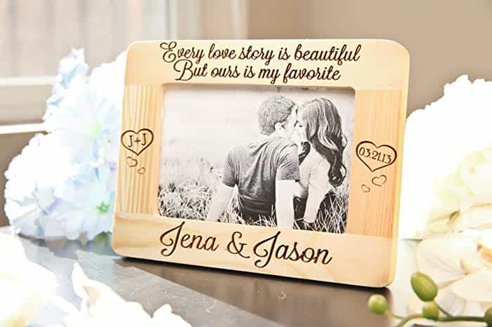 Custom Wooden Picture Frame - Romantic Anniversary Gifts for Him