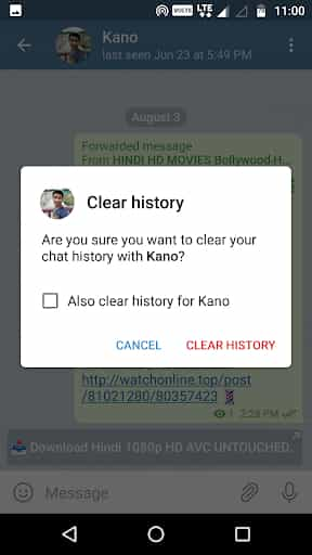 Clear history from Telegram