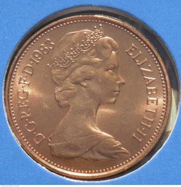 1983 New Pence 2p coin